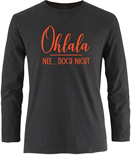EZYshirt® Ohlala - Nee...doch nicht Herren Longsleeve Schwarz/Orange