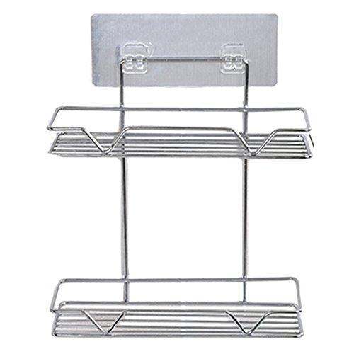 WYY Regal HPLL Lagerregale Badezimmer an der Wand befestigte Nagel-Freie Speicher-Regal-Doppelte Schichten der Küche-Kühlschrank-Lagerregal (Farbe : Titanium Steel) (Badezimmer Der Befestigte Doppelte Wand)
