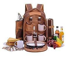 Idea Regalo - Apollowalker, zaino da picnic, borsa termica con posate, coperta e altri accessori, per 4persone