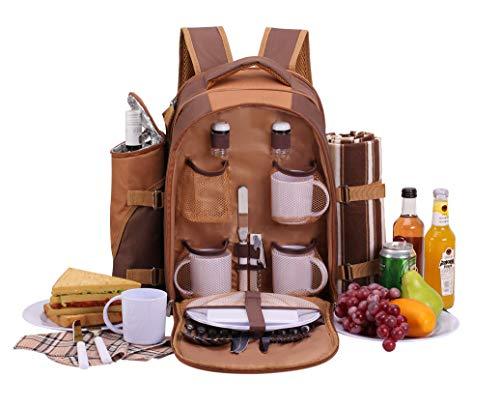 Apollowalker Picknickrucksack für 4 Personen mit Fleece-Decke und Kühlfach