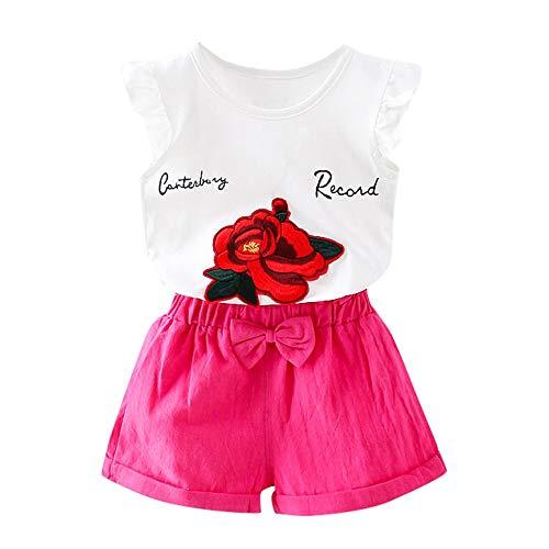 LABIUO Zweiteilige Kinderbekleidung, Kleinkind Kinder Mädchen Armelloses Print Top+Bow Shorts Hosen Outfits Kleidung Kinder Zweiteilig(Pink,4T/110) -