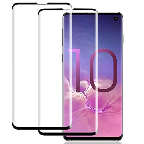 WHJC [2 Stück Bildschirmschutzfolie kompatibel mit Samsung Galaxy S10 Schutzfolie, Panzerglas Schutzfolie mit Full-Screen Schutz - Fettabweisende Hartglas Folie für Samsung Galaxy S10 (2019)