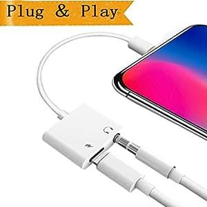 Lotuyye Lightning à 3.5mm Adaptateur Audio JACK 2 en 1 pour iPhone iPad iPod iTouch iPhone X 10 8/8 Plus 7/7 Plus iPod iPad Connecteur AUX Convertisseur Adaptateur
