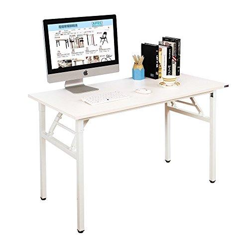 DlandHome Escritorios Mesa -WhiteW2 Plegable de Ordenador Escritorio de Oficina Mesa de Estudio Puesto de Trabajo Mesa de Despacho, 100x60cm, Blanco