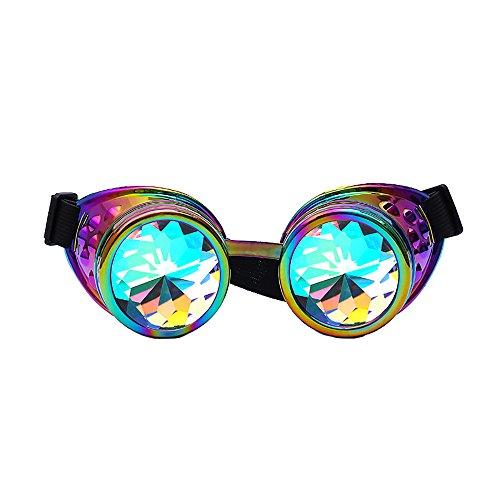 Frashing Steampunk Sonnenbrille Damen Kaleidoskop Bunte Gläser Rave Festival Party EDM Sonnenbrille Beugungslinse Herren Kaleidoskop Gläser
