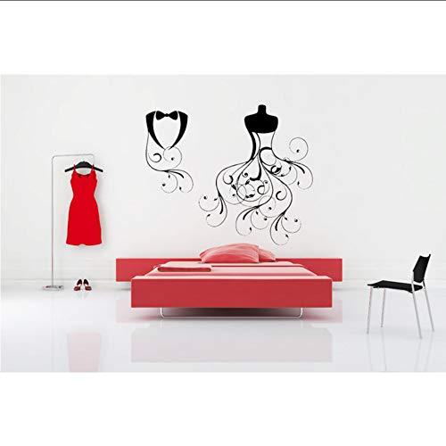 angepasst werden, Größe, Farbe, DIY-Muster】Braut Und Bräutigam Brautkleid Schöne Wandaufkleber Tux Vinyl Wandmalereien Neu Mi Geschenke Home House Room Decor Tapete 60 * 103 cm ()