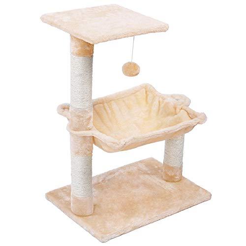 Wellhome Katzen Kratzbaum Kletterbaum mit Spielsisal Spielzeugball und Hängematte 70cm Beige