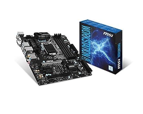 MSI Mainboard C236M WS LGA 1151 max 64GB 4x DDR4 1x PCI 1xPCIe 2x PCIe x16 1x VGA 1x DVI 1x HDMI 6x SATA3 4x USB3.1 2x USB2.0 mATX