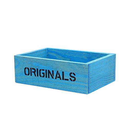 fablcrew Caisse de bois Epicerie Boîte de stockage de décombres Pot pour plante 19 * 13 * 6.5 cm 19cm*13cm*6.5cm bleu