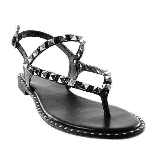 Angkorly Chaussure Mode Sandale Tong Lanière Cheville Métallisé Femme Multi-Bride Clouté Brillant Talon Bloc 1.5 cm Noir