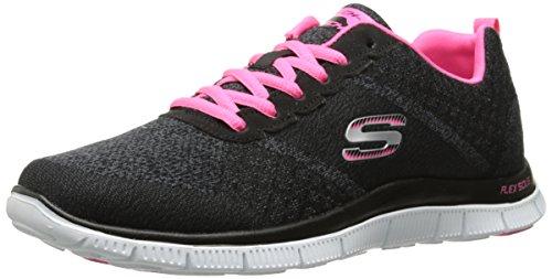 SkechersFlex AppealSimply Sweet - Scarpe da Ginnastica Basse Donna, Nero (BKHP), 37