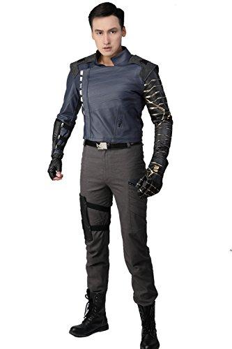 ky Kostüm Deluxe Herren Outfit Film Cosplay Suit für Erwachsene Verrücktes Kleid Kleidung Merchandise (L) (Winter Soldier Kostüm Maske)