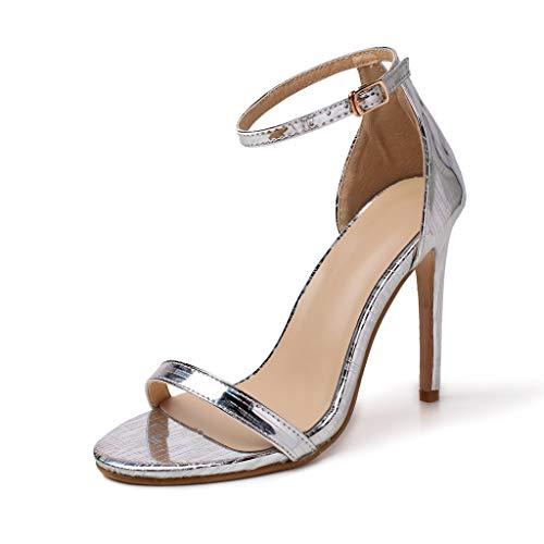 Deloito 2019 Sommer Sexy Damen High Heels Sandaletten Peep-Toe Schuhe Hochzeit Flacher Mund Party Prom Schuhe Abend Stilett Sandalen (Silber,40 EU) Sexy Stiletto Heel Prom Schuhe