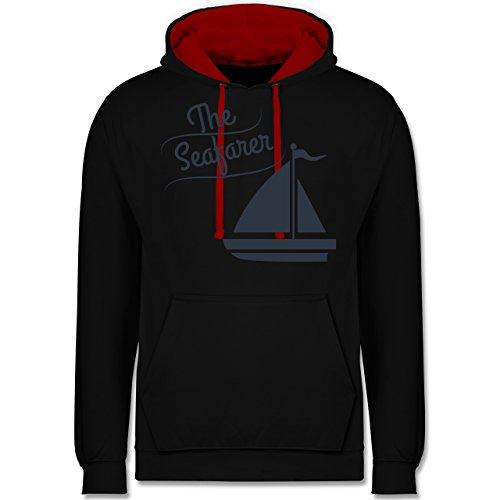 Schiffe - The Seafarer Segelboot - Kontrast Hoodie Schwarz/Rot