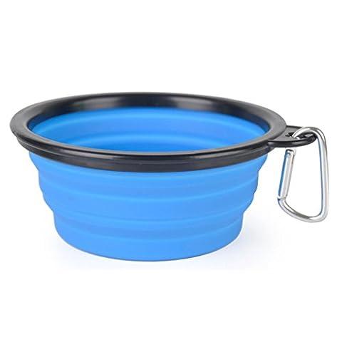 Hmilydyk pliable pour animal domestique Bol Portable Pliable extensible de voyage en silicone sans BPA Chien Chat Nourriture Eau bols avec mousquetons