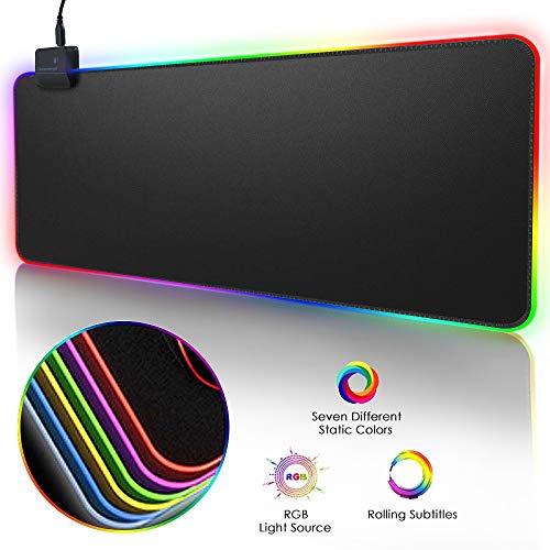 Nosii RGB Soft Gaming Mauspad Glowing Led Extended Mousepad Rutschfeste Gummibasis Computer Tastaturmatte (Color : 80 * 30cm)