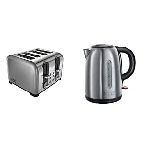 Russell Hobbs 22400 Wide Slot Four Slice Toaster and Russell Hobbs 20441 Snowdon Kettle, 1.7 L, 3000 W - Brushed Stainless Steel Silver