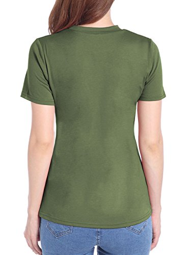 Futurino Damen Used-Look-Solid Color Ripped Ausschnitte Lässiges T-Shirt Spitze Onliv