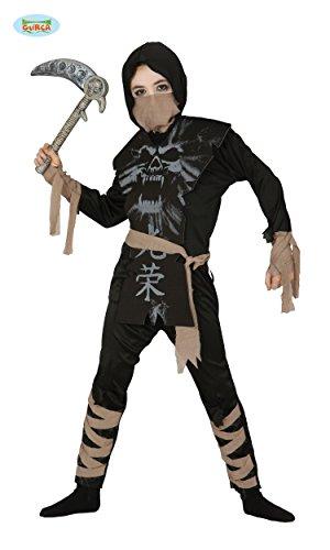 KINDERKOSTÜM - SKELETT NINJA - Größe 127-132 cm ( 7-9 Jahre ), asiatischer japanischer Geheimbund Shinobi Kämpfer Kampfkunst Skelett Geist Ghost