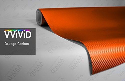 3' Vinyl (VVIVID® XPO Orange Carbon Fiber 5ft x 3ft Car Wrap Vinyl Roll with Air Release Technology by VViViD)