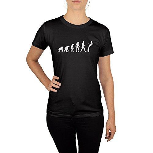 Frauen T-Shirt mit Aufdruck in Schwarz Gr. S Lauch Evolution Gang Design Girl Top Mädchen Shirt Damen Basic 100% Baumwolle Kurzarm