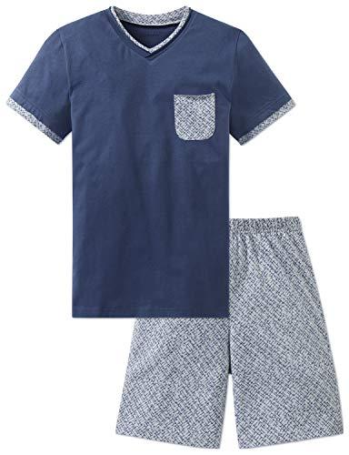 Schiesser Jungen Anzug kurz Zweiteiliger Schlafanzug, Blau (Jeansblau 816), 140 (Herstellergröße: XS)