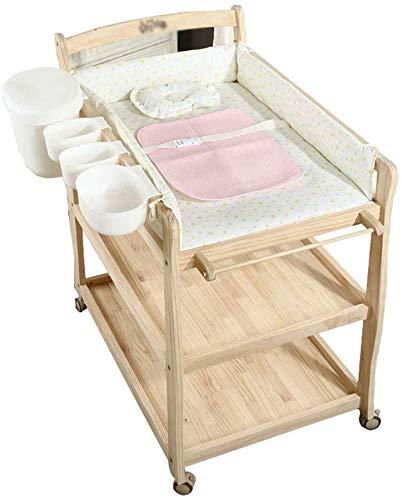 LIANYANG Wickeltisch klappbar Wickelkommode mit Aufbewahrungsbox Wickeltisch auf Rädern (Naturholz)
