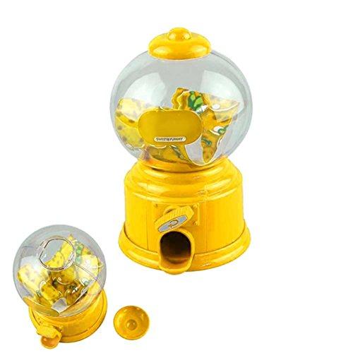 QUINTRA Klassische Vintage Doppel Kaugummi Maschine Bank Candy Dispenser Gumball Spielzeug (Gelb) (Candy Kostüm Kleinkind)