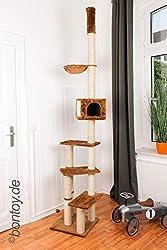 Bontoy Kratzbaum Pascha Deckenhoch mit 3 Ebenen 240-260cm braun, Sisalstämme mit 9cm Durchmesser, für Deckenhöhe von 240-260cm, weitere Deckenhöhe auf Anfrage