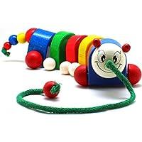 EDUFUN 22015 - Pupazzo in legno da tirare con ruote, giocattolo in legno FSC