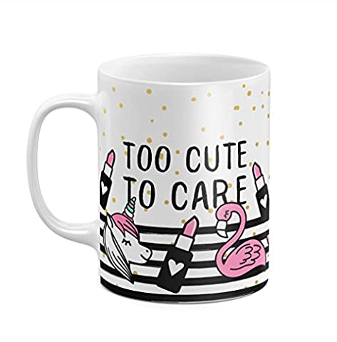 Too Cute To Care Pink Unicorn 11 ounce Ceramic Tea