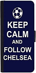 Snoogg Keep Calm And Follow Chelsea Graphic Snap On Hard Back Leather + Pc Fl...
