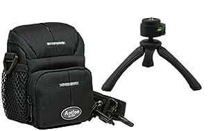 Foto Kamera Tasche ACTION BLACK ONE im Set mit Reise Stativ Rollei SY-310 für Panasonic TZ61 TZ71 TZ81 TZ101