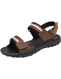 SK Studio Uomo Pelle Sandali di Velcro Esterni Peep Toe Trekking Scarpe  Suola Alta Sportivi Sandalo 55af1fc8a60