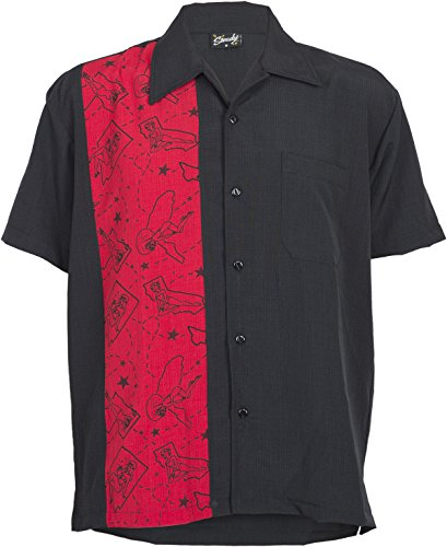 Rock Steady Pinup Single Panel Button Up 50s Bowling Shirt Hemd Rockabilly (Button-up-shirt Panel)