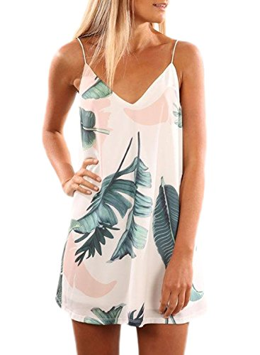 Mini Print Tunika (Dearlove, Damen-Minikleid, bedruckt, V-Ausschnitt, mit Spaghetti-Trägern, ärmellos, Strandkleid, lange Tops Gr. M (38-40), Light Tropical Palm)