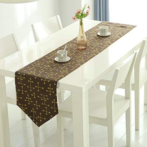 Gcxzq Tischläufer/Tischdecke Aus Baumwoll Leinen Mit Quasten for Küche Restaurant Hotel Cafe Terrasse (Color : BrownandYellow, Size : 30 * 180CM) - Restaurants Terrasse Tisch
