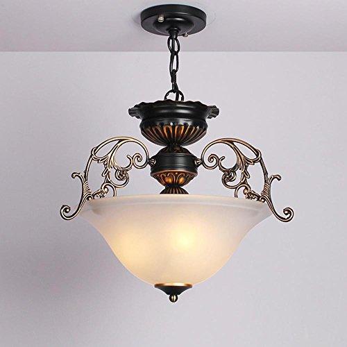Retro Kreativ Einfache Eisen geschmiedet Klar Glas Schirm Blume Runde Ø33CM E27 * 3 Lichter [Energie Klasse A +++] - Glas Eisen Geschmiedet