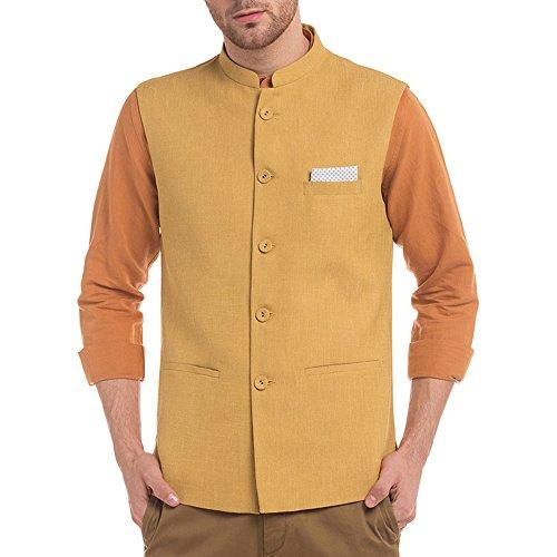 True Blue Mens Mao Collar Slub Nehru Jacket