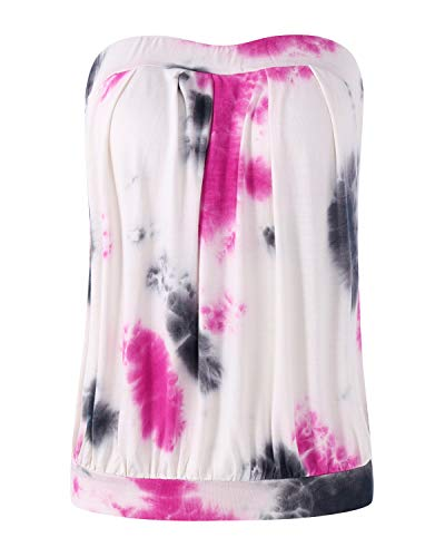ZANZEA Damen Schulterfrei Ärmellos Tops Rückenfrei Oberteile Rüschen Strand Weste Tie Dye Rose EU 38/US 6 - Lila Tie-dye-t-shirt