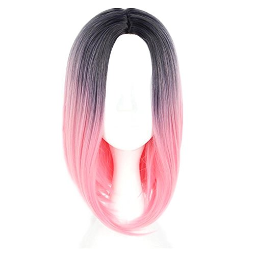 COSPLAZA kurz Omber Farbe Gerade Bob Synthetic Frauen Perücke Schwarz zu Pink