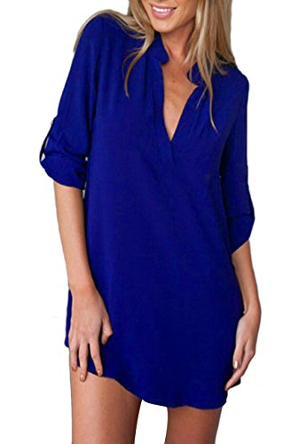 OMZIN Frauen T-Shirt Casual Chiffon V-Ausschnitt Volle Hülse Lose Top Bluse Blau S (Blue T-shirt Royal Kleinkind)
