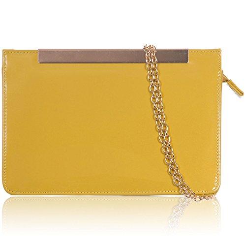 xardi London in pelle sintetica Donna Clutch Designer Donna Sera Prom partito borsa a tracolla Yellow