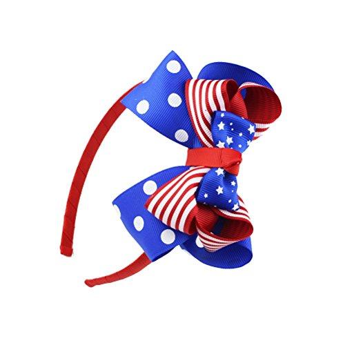 OULII Amerikanische Flagge Bogen Stirnband patriotischen Haarband Band Stirnband Kinder Baby Mädchen süße Bowknot Haar Kleid für Unabhängigkeitstag 4. Juli Nationalfeiertag