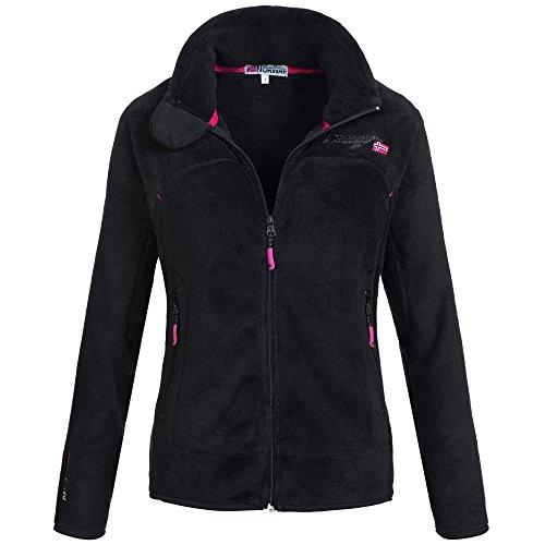 Geographical Norway URSULA Damen Fleecejacke Fleece Jacke mit Kuschelhandschuhe Gr. S-XXL, Größe:M;Farbe:Schwarz