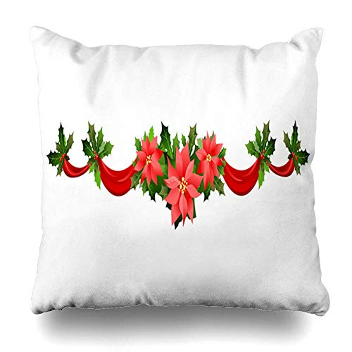 tro Green Holly Christmas Festive Poinsettia Holiday Ticket Floral Leaflet Nature Red Garland Pillowcase Square Size 18 x 18 Inches Zippered Home Decor Cushion Case ()