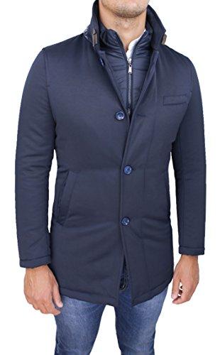 Giubbotto giaccone uomo sartoriale blu invernale slim fit giacca soprabito elegante con gilet interno (m)