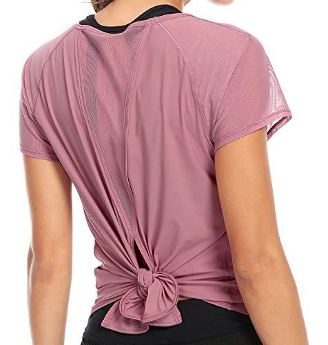 Damen Yoga gebunden Mix & Mesh Kurzarm T-Shirt Sport T-Shirt Farbe Rosa Größe M