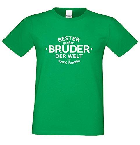 Geburtstagsgeschenk Bruder :-: Herren-Motiv T-Shirt mit Urkunde besten Bruder :-: Weihnachtsgeschenk :-: Bester Bruder der Welt :-: Geschenkidee für Männer auch Übergrößen 3XL 4XL 5XL grün-23