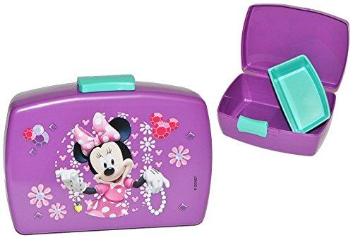 Lunchbox / Brotdose - Minnie Mouse lila mit extra Einsatz - Brotbüchse Küche Essen für Mädchen Maus Mickey Kinder Vesperdose / Trennwand